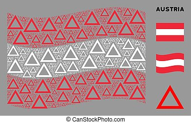 Waving Austrian Flag Mosaic of Contour Triangle Items