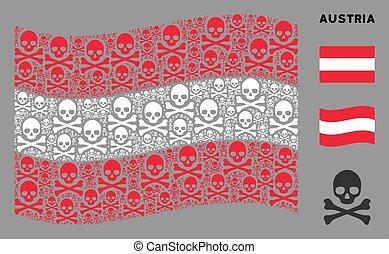 Waving Austrian Flag Mosaic of Death Skull Icons
