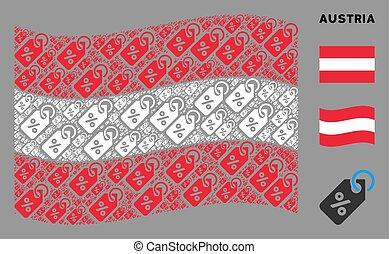 Waving Austrian Flag Mosaic of Discount Tag Icons