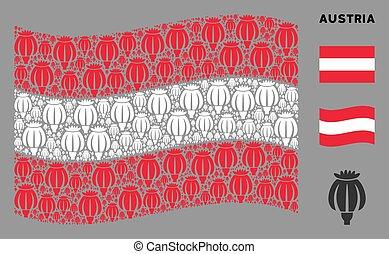 Waving Austrian Flag Mosaic of Opium Poppy Icons