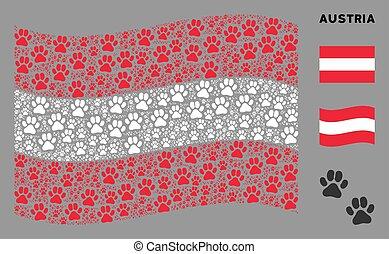 Waving Austrian Flag Mosaic of Paw Footprints Icons