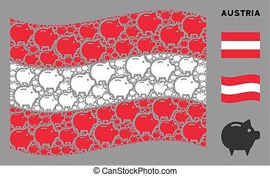 Waving Austrian Flag Mosaic of Piggy Bank Items
