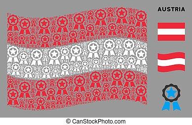 Waving Austrian Flag Mosaic of Star Award Icons