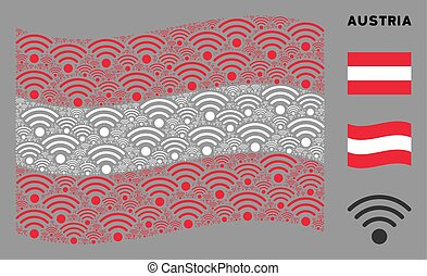 Waving Austrian Flag Mosaic of Wi-Fi Source Items