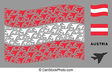 Waving Austrian Flag Pattern of Airplane Intercepter Items