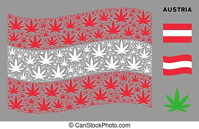 Waving Austrian Flag Pattern of Cannabis Icons