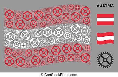 Waving Austrian Flag Pattern of Clock Gear Icons