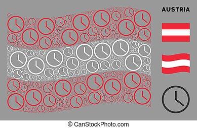 Waving Austrian Flag Pattern of Clock Icons
