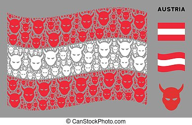 Waving Austrian flag. Vector daemon head icons are combined into conceptual Austrian flag illustration. Patriotic illustration combined of flat daemon head elements.