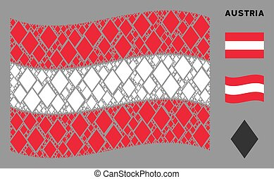 Waving Austrian Flag Pattern of Filled Rhombus Items