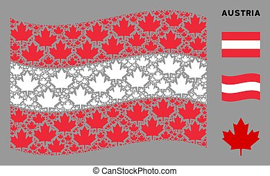 Waving Austrian Flag Pattern of Maple Leaf Icons