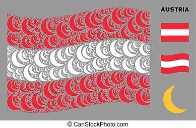 Waving Austrian Flag Pattern of Moon Items