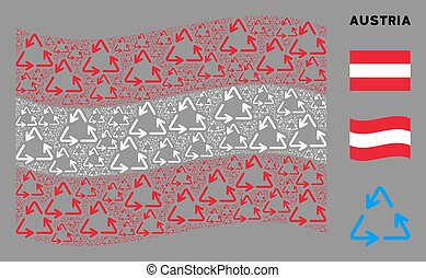 Waving Austrian Flag Pattern of Recycle Triangle Items