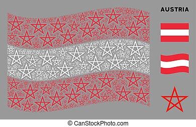 Waving Austrian Flag Pattern of Star Pentagram Items