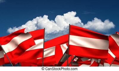 Waving Austrian Flags
