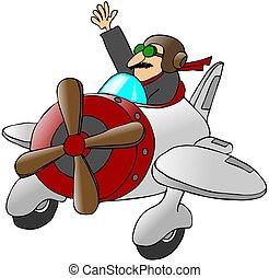 waving, avião pequeno, piloto