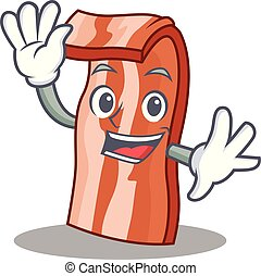 Waving bacon character cartoon style vector illustration