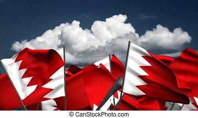 Waving Bahrain Flags (seamless & alpha channel)