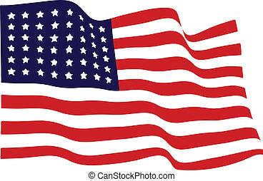 waving, bandeira americana, vetorial