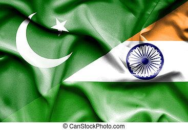waving, bandeira paquistão, índia