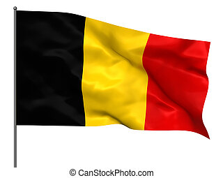 Waving Belgian flag isolated over black background