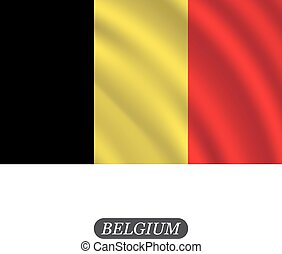 Waving Belgium flag on a white background. Vector illustration