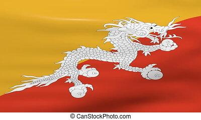 Waving Bhutan Flag, ready for seamless loop.