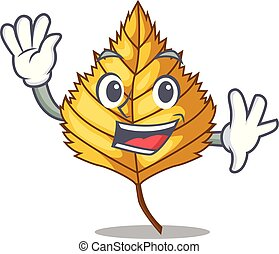 Waving birch leaf isolated in the character vector...