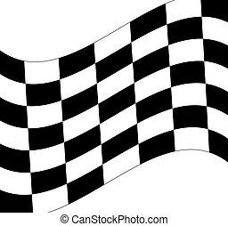 waving black and white checkered flag on white background...