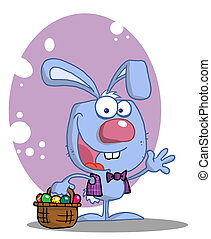 Blue Rabbit With Easter Eggs