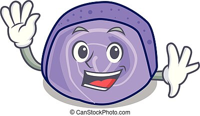Waving blueberry roll cake character cartoon