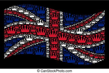Waving British Flag Collage of Crown Items