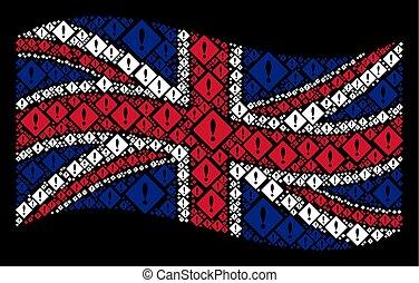Waving British Flag Collage of Error Icons