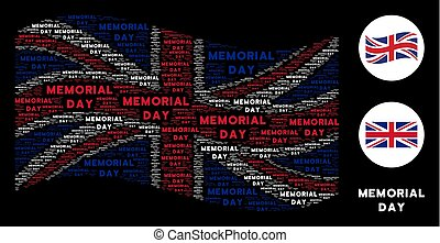 Waving British Flag Collage of Memorial Day Texts