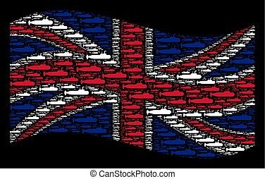 Waving British Flag Collage of Military Submarine Items