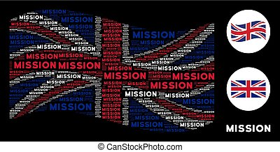Waving British Flag Collage of Mission Text Items - Waving...