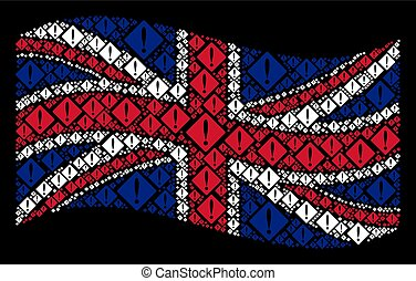 Waving British Flag Collage of Problem Items