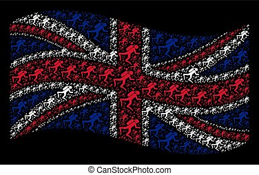 Waving British Flag Collage of Scuba Diver Items