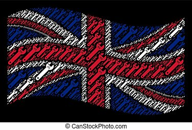 Waving British Flag Collage of Spanner Items