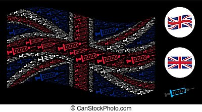 Waving British Flag Collage of Syringe Icons