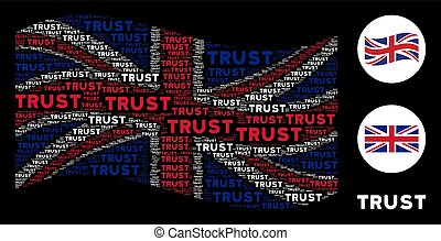 Waving British Flag Collage of Trust Texts