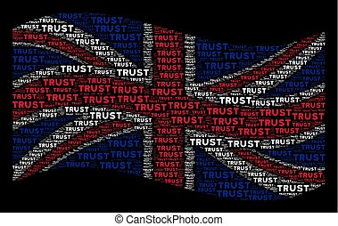 Waving British Flag Collage of Trust Texts