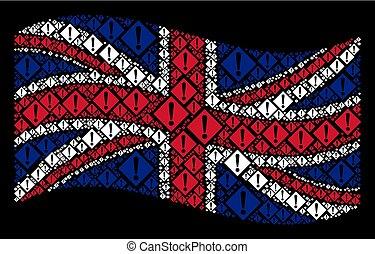 Waving British Flag Collage of Warning Icons