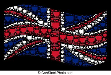 Waving British Flag Collage of Wine Glass Icons