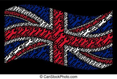 Waving British Flag Collage of Wrench Items