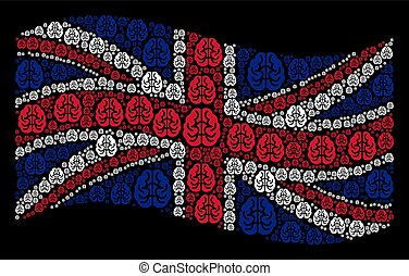 Waving British Flag Mosaic of Brain Icons