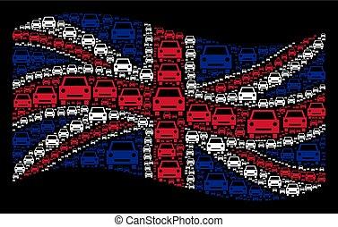Waving British Flag Mosaic of Car Icons