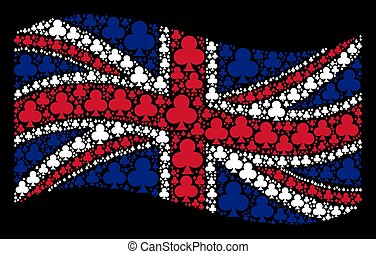 Waving British Flag Mosaic of Clubs Suit Items