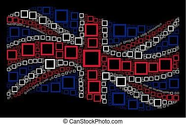 Waving British Flag Mosaic of Contour Square Items