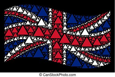 Waving British Flag Mosaic of Filled Triangle Items